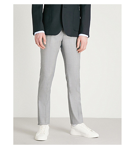 REISS Wangle puppytooth-patterned slim-fit wool-blend trousers (Soft+blue