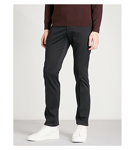 REISS Ousby twill-weave slim-fit tapered stretch-cotton trousers (Navy
