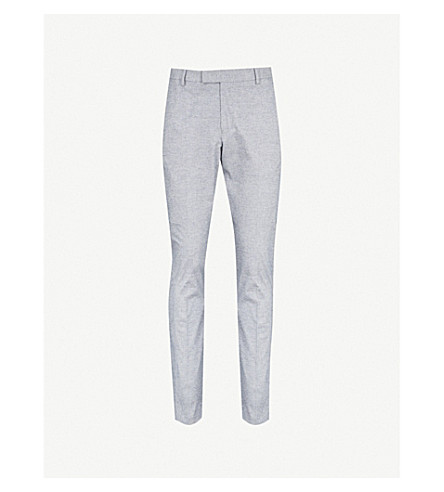 REISS Caspian slim-fit stretch-cotton trousers (Soft+blue