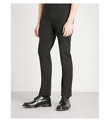REISS Westbury slim-fit tapered stretch-cotton trousers (Black
