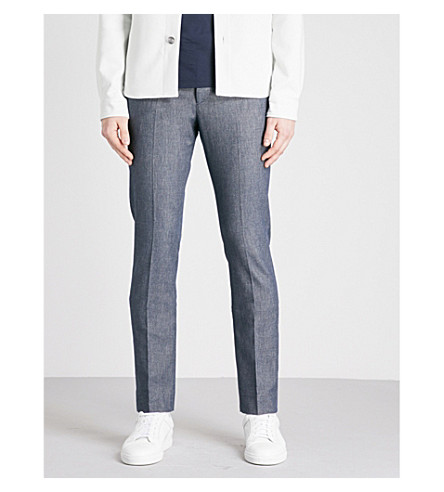 REISS Colonia slim-fit stretch-cotton trousers (Indigo