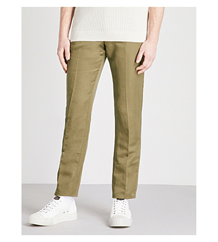 REISS Cheque slim-fit tapered linen-blend trousers (Khaki