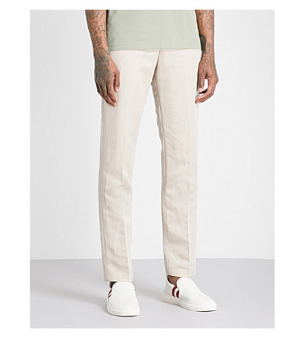 tapered Stone blend trousers REISS fit REISS Cheque slim Cheque linen X0zqzB