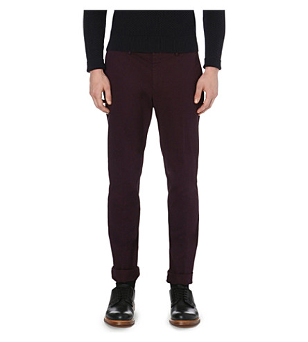 REISS Bennett slim tapered chinos (Bordeaux