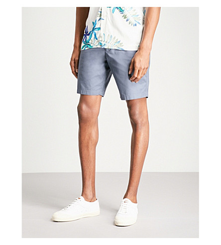 REISS Wicker regular-fit straight cotton chino shorts (Airforce+blue