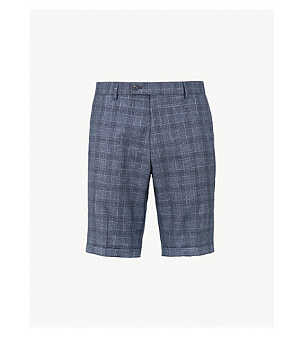 REISS Gregory checked regular-fit straight wool-blend shorts (Blue