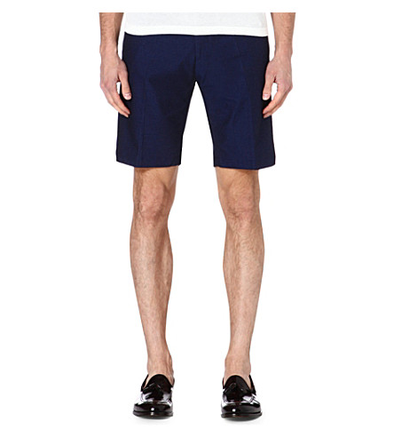 REISS Hickory pin-dot cotton shorts (Navy