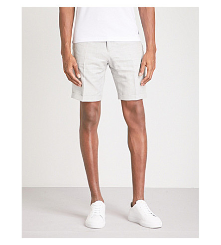 REISS Ashford textured-weave regular-fit cotton and linen-blend shorts (Stone