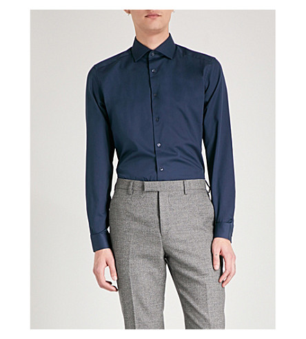 REISS Control slim-fit cotton shirt (Navy