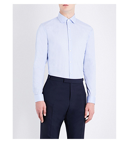 REISS Osvaldo striped slim-fit cotton shirt (Sky+blue