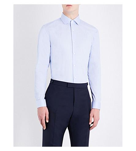REISS 奥斯瓦尔多条纹修身版型棉衬衫 (天 + 蓝)