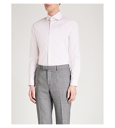 REISS Oxide slim-fit stretch-cotton shirt (Soft+pink