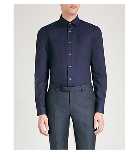 REISS Ragan herringbone-weave regular-fit cotton shirt (Navy