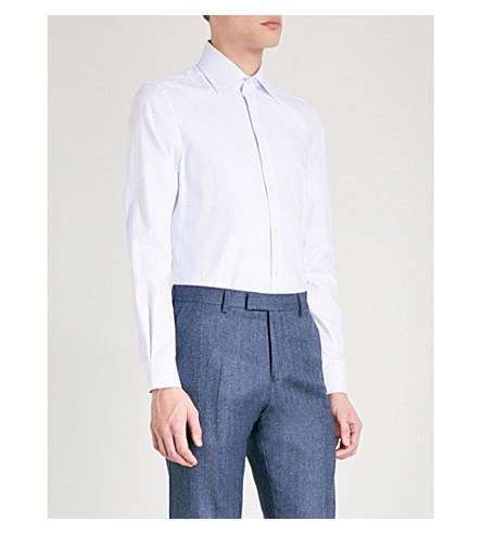 REISS Salasi striped slim-fit cotton shirt (Soft+blue
