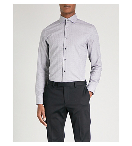 REISS St Louis cotton-jacquard shirt (Black/white