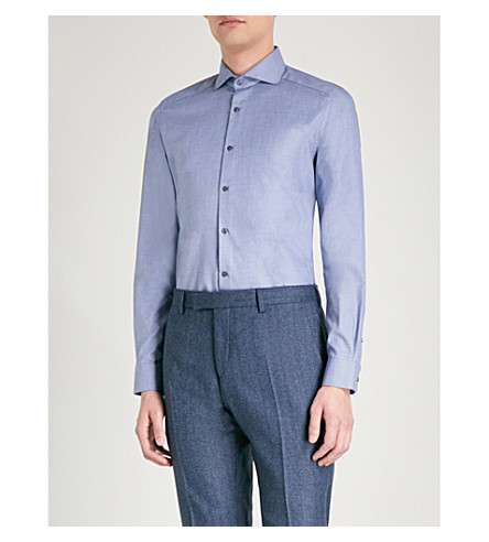 REISS Shaffer slim-fit cotton shirt (Blue