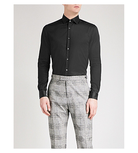REISS Bane-collar edge shirt (Black