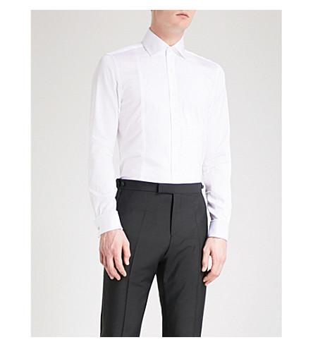 REISS Henrick regular-fit cotton-poplin evening shirt (White