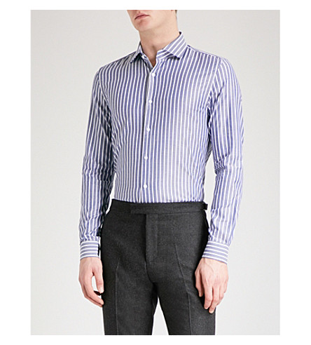 REISS Kilder striped slim-fit cotton shirt (Navy/white