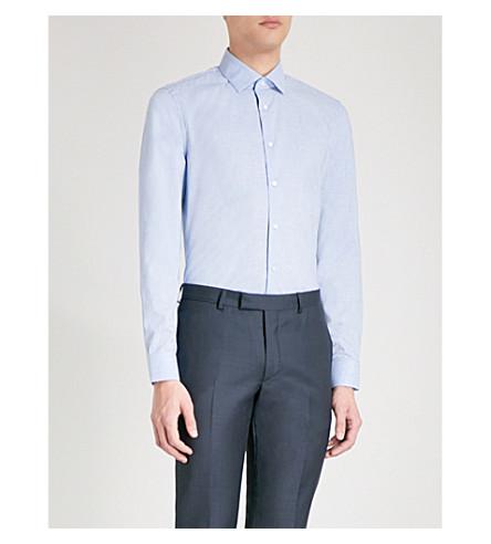 REISS Tapper melange-patterned slim-fit cotton-poplin shirt (Soft+blue