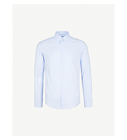 REISS Ludlow slim-fit cotton shirt (Soft+blue
