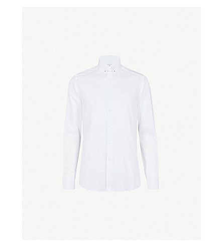 REISS Angel bar-detail slim-fit cotton shirt (White
