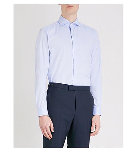 REISS Cloud slim-fit cotton shirt (Soft+blue