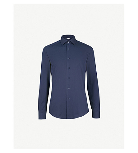 REISS Control slim-fit cotton-poplin shirt (Navy