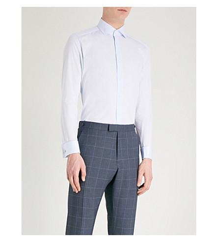 REISS Detroller slim-fit cotton-twill shirt (Soft+blue