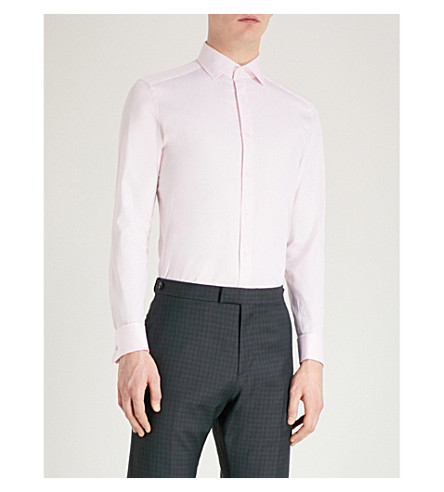 suave fit algodón camisa slim Detroller de Rosa REISS de sarga qSzCtfw