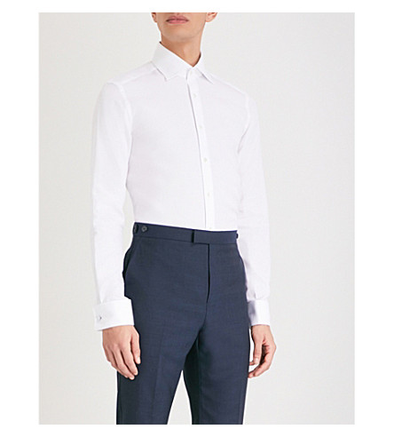 REISS Farrow hopsack-weave slim-fit cotton shirt (White