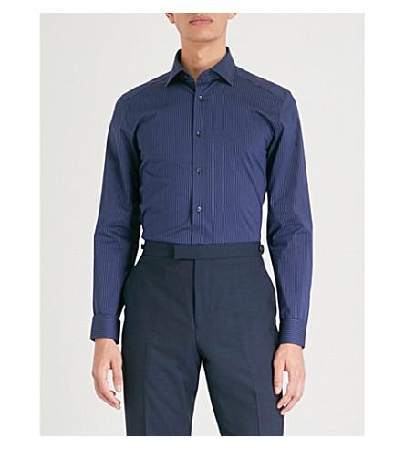 REISS Guy striped slim-fit cotton-blend shirt (Navy