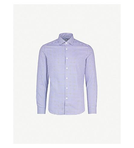 REISS Houndstooth regular-fit cotton-poplin shirt (Navy/white
