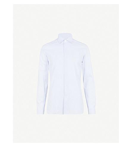 REISS Niko houndstooth slim-fit cotton shirt (Soft+blue