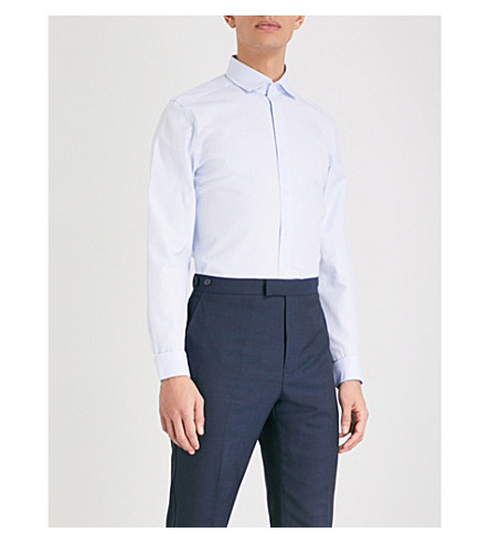 REISS Niko houndstooth slim-fit cotton shirt (Soft+blue