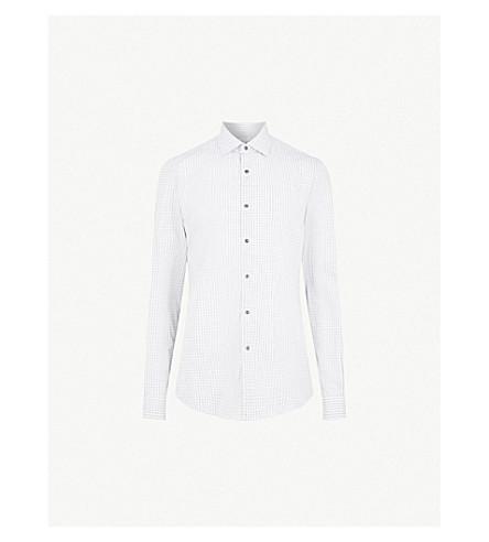 REISS Samphe checked slim-fit cotton shirt (Grey
