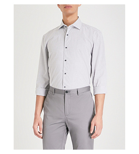 REISS Samphe checked slim-fit cotton shirt (Grey