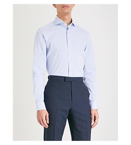 REISS Smithy slim-fit striped cotton-blend shirt (Soft+blue