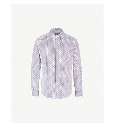 REISS Tonia slim-fit patterned cotton shirt (White/black