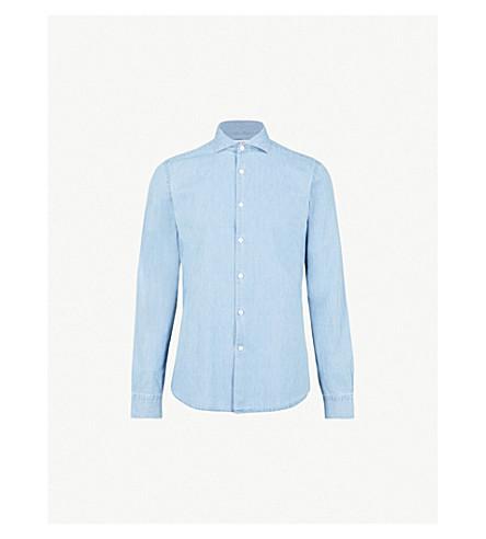 REISS Draper regular-fit cotton-chambray shirt (Blue