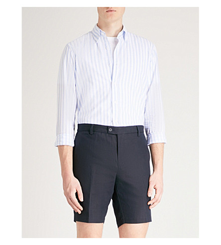 REISS Granger azul camisa y algodón de suave lino rZFr6P