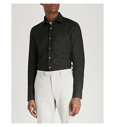 REISS Perdu slim-fit linen shirt (Black