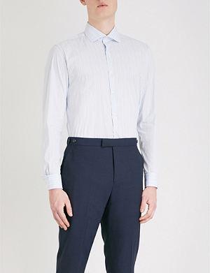 REISS Gordie striped regular-fit cotton-blend shirt
