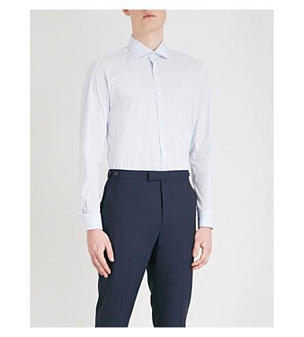 REISS Gordie striped regular-fit cotton-blend shirt (Soft+blue