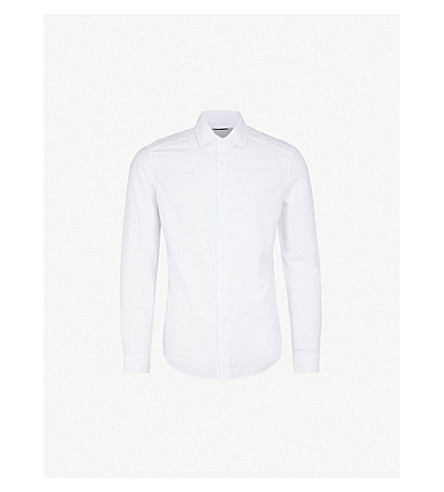 REISS Bruce paisley-jaquard cotton shirt (White