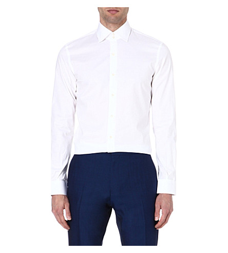 REISS Zinc slim-fit stretch-poplin shirt (White
