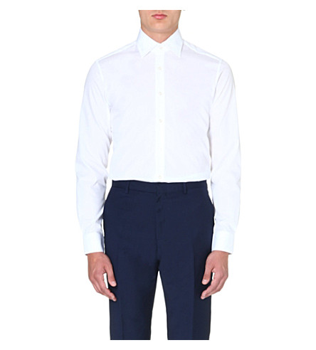 REISS Slim-fit point collar shirt (White