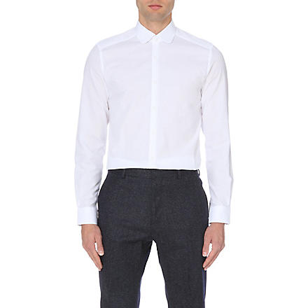 REISS Rhyme textured curved collar shirt (White
