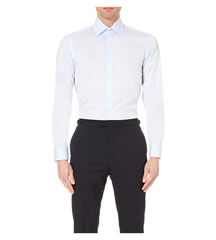 REISS Christopher classic-fit cotton shirt (Soft+blue