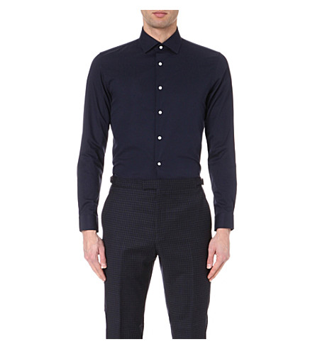 REISS Steer slim-fit cotton shirt (Navy